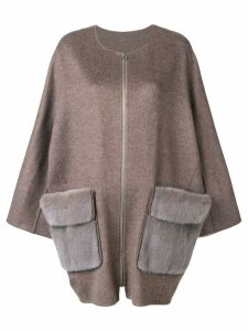 Liska mink fur pocket coat - Brown