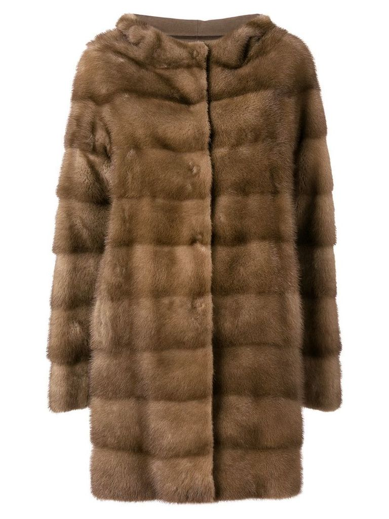 Liska hooded mink fur coat - Brown