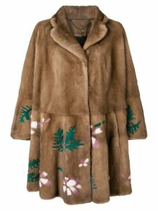 Liska floral pattern mink coat - Brown
