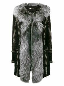 Philipp Plein studded zipped fur-trim coat - Black