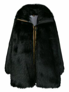 Faith Connexion zipped up fur coat - Black