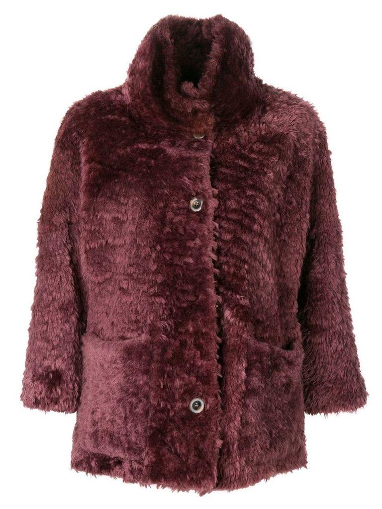 Desa Collection 3/4 sleeved fur coat - Pink