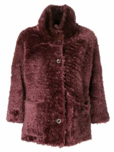 Desa Collection 3/4 sleeved fur coat - Pink