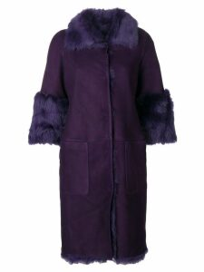Desa Collection fur trimmed coat - Purple