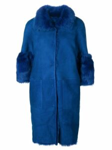 Desa Collection fur trimmed coat - Blue