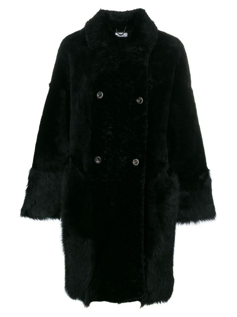 Desa Collection double-breasted fur coat - Black