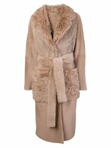 Yves Salomon shearling trench coat - Pink