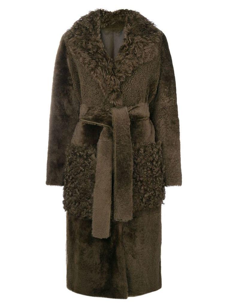 Yves Salomon long shearling coat - Green