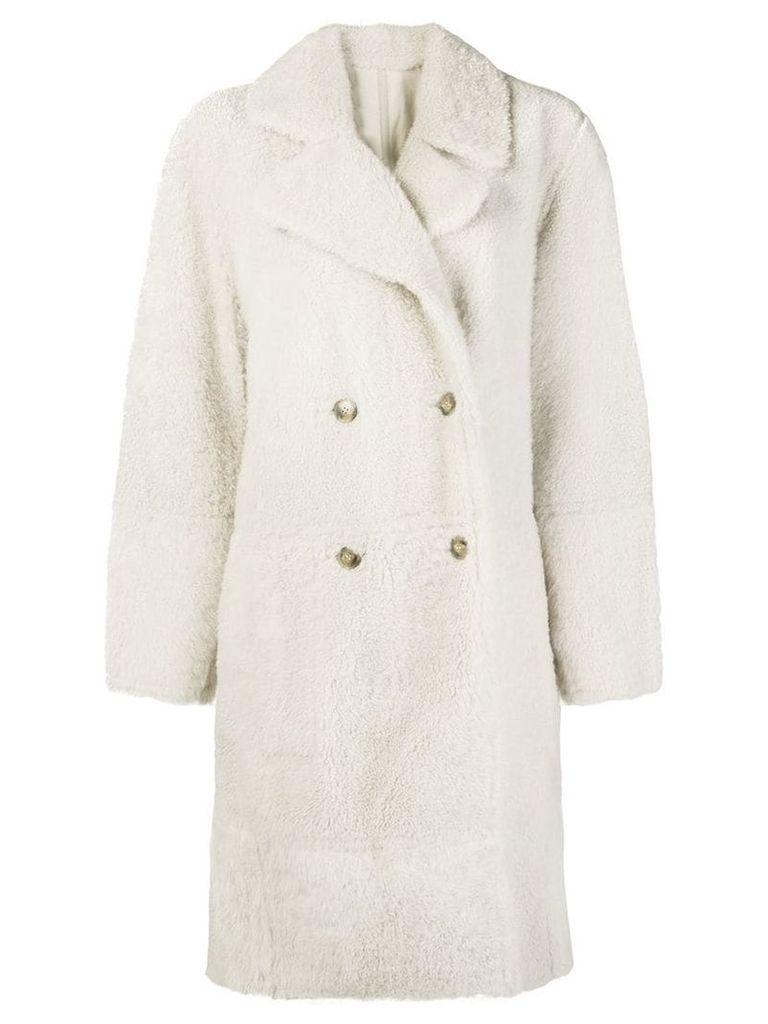 Yves Salomon oversized shearling coat - White