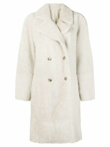 Yves Salomon oversized shearling coat - White