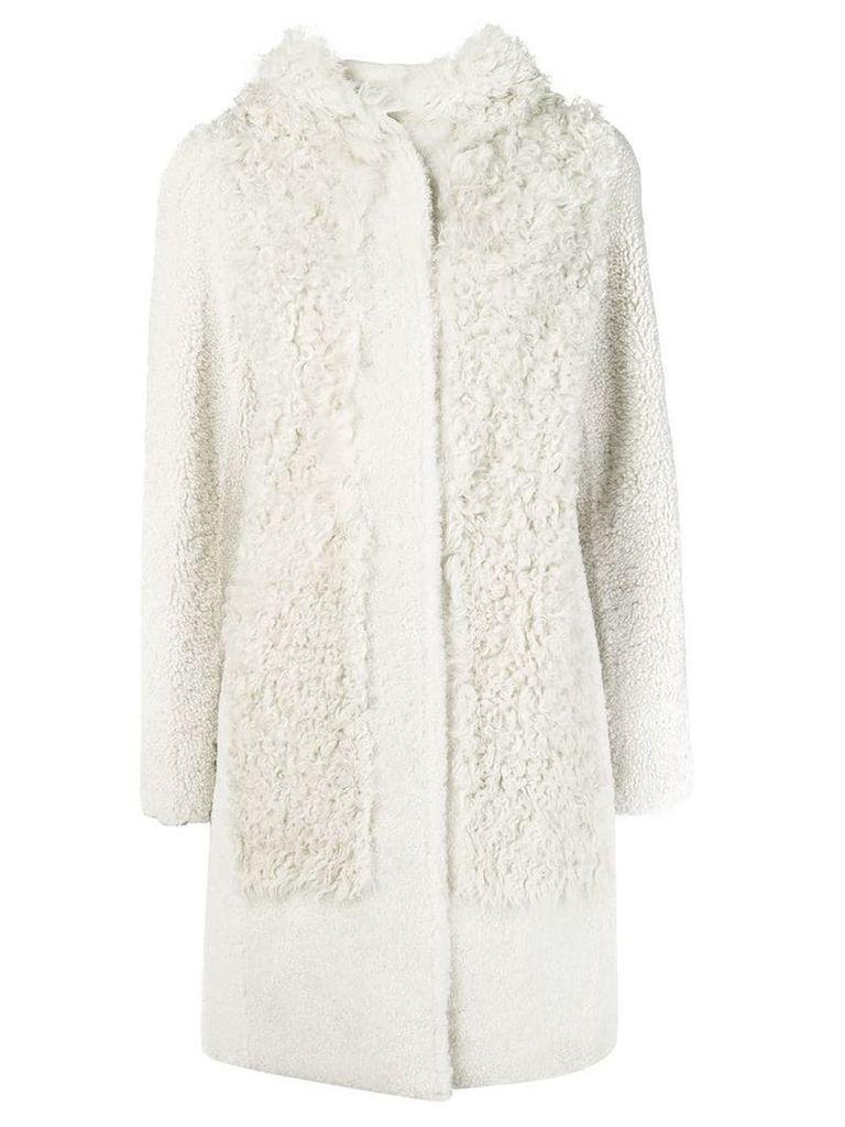 Yves Salomon hooded shearling coat - White