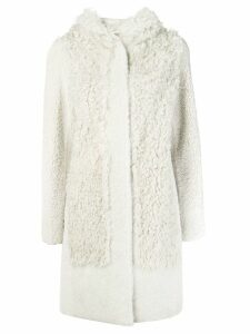 Yves Salomon hooded shearling coat - White