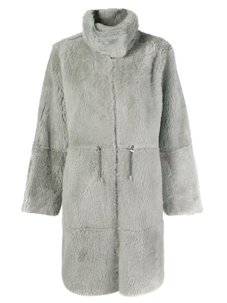 Yves Salomon oversized long reversible shearling coat - Grey