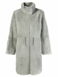 Yves Salomon oversized long reversible shearling coat - Grey