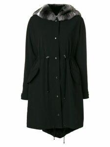 Liska fur drawstring jacket - Black
