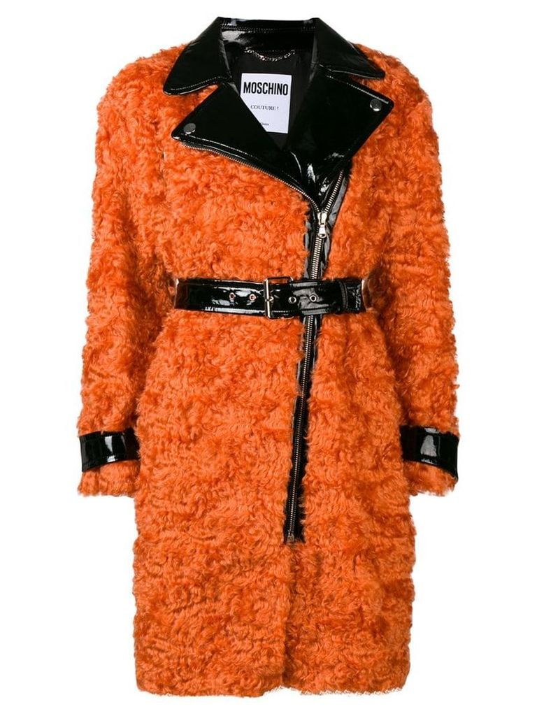 Moschino belted shearling coat - Orange