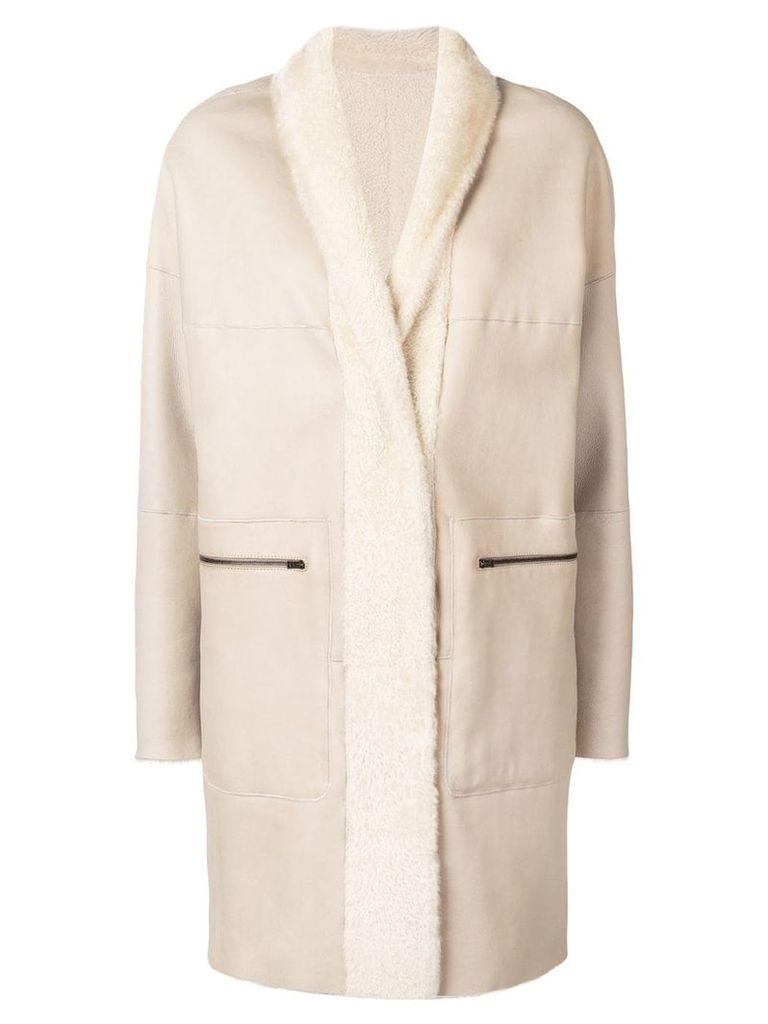 Sprung Frères lamb fur shawl collar coat - Neutrals