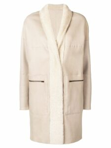 Sprung Frères lamb fur shawl collar coat - Neutrals