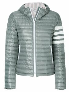 Thom Browne Quilted Down Fill Hooded Jacket In Nylon Tech - Grey