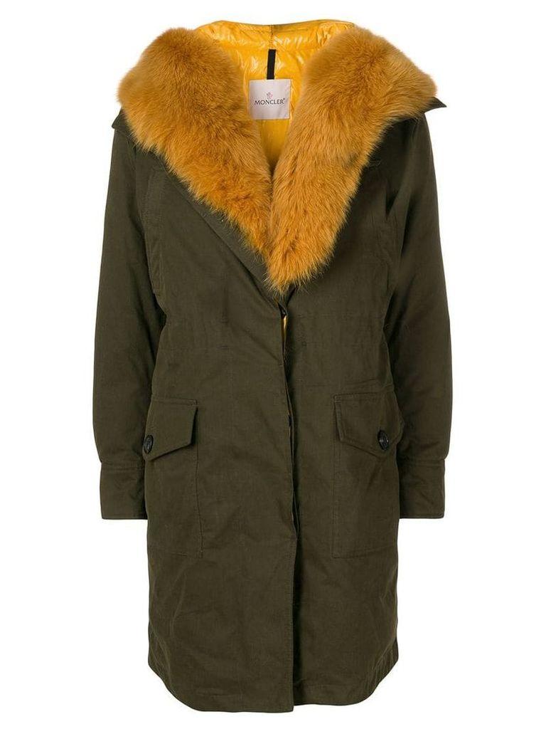 Moncler fox fur midi coat - Green