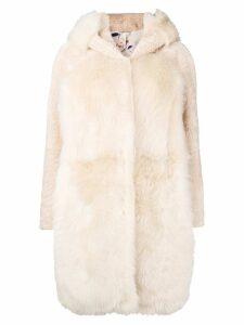 Liska hooded panel fur coat - Neutrals