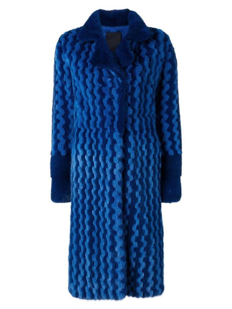 Liska Bexin two-tone fur coat - Blue