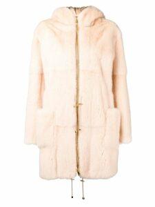 Liska Pallas hooded fur coat - Neutrals