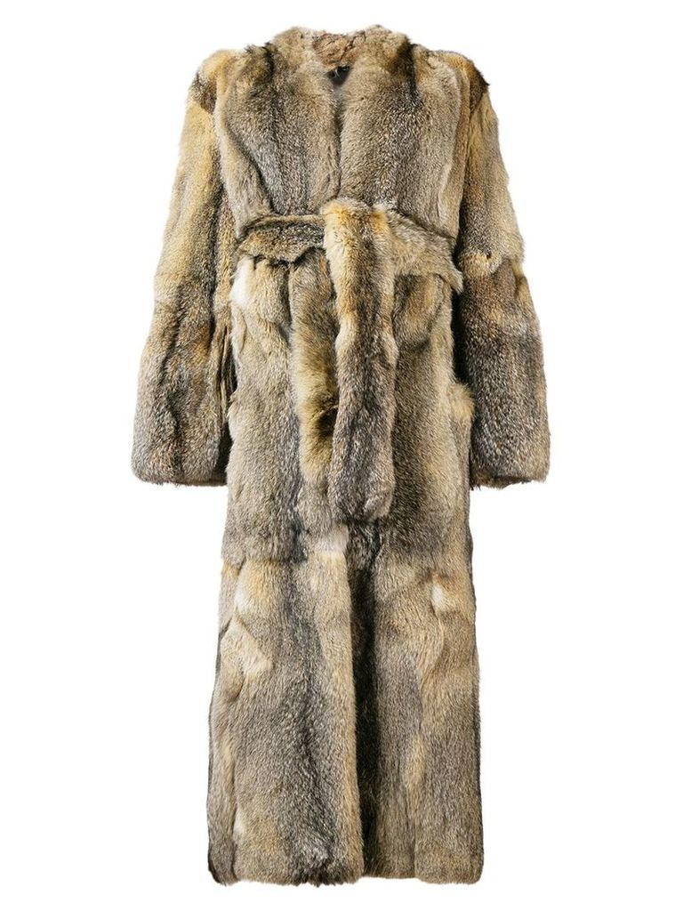 Liska Arimova belted fur coat - Neutrals
