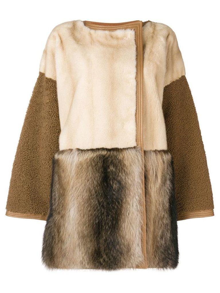 Yves Salomon panelled fur coat - White