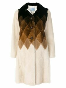 Prada dégradé rhombus panel coat - NEUTRALS