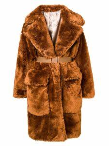 Nº21 faux fur long coat - Brown