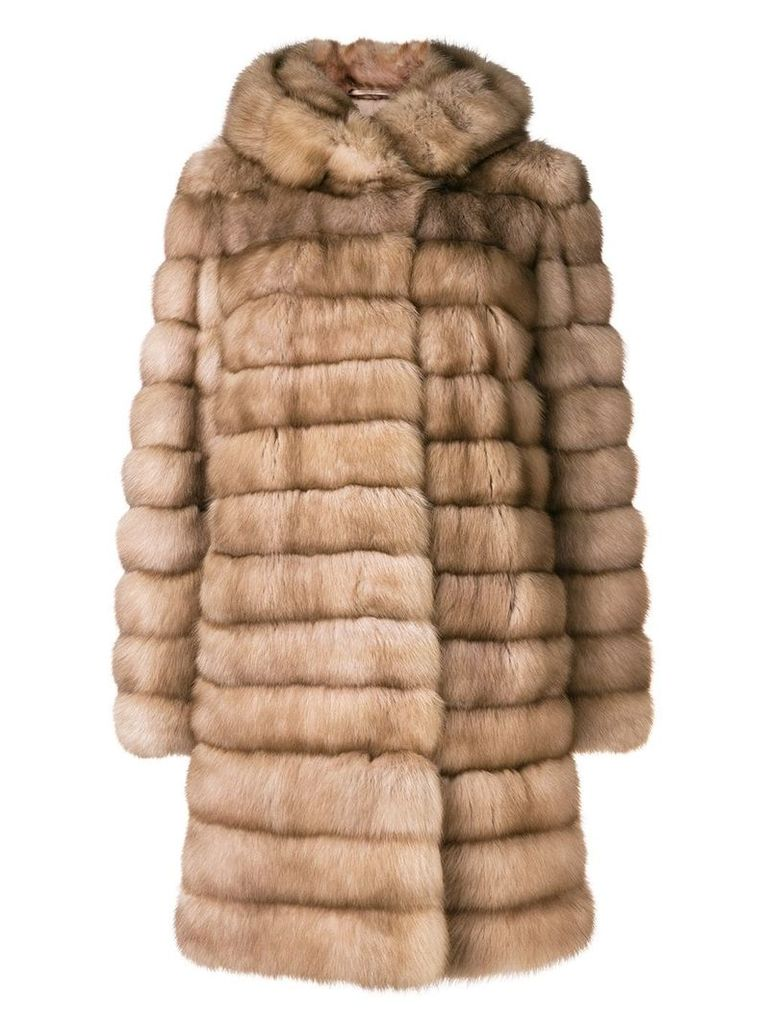 Liska hooded fur coat - Neutrals