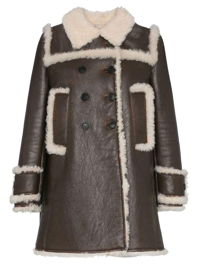 Miu Miu shearling trimmed leather coat - F025l Bruciato+Natural