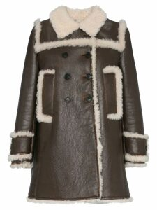 Miu Miu shearling trimmed leather coat - F025l Bruciato+Natural