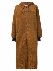 Inès & Maréchal hooded shearling coat - Brown
