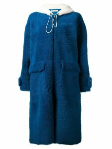 Inès & Maréchal hooded shearling coat - Blue