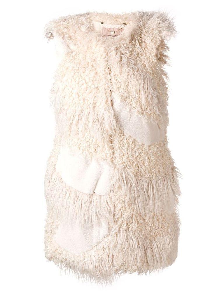 Twin-Set faux fur patch gilet - White