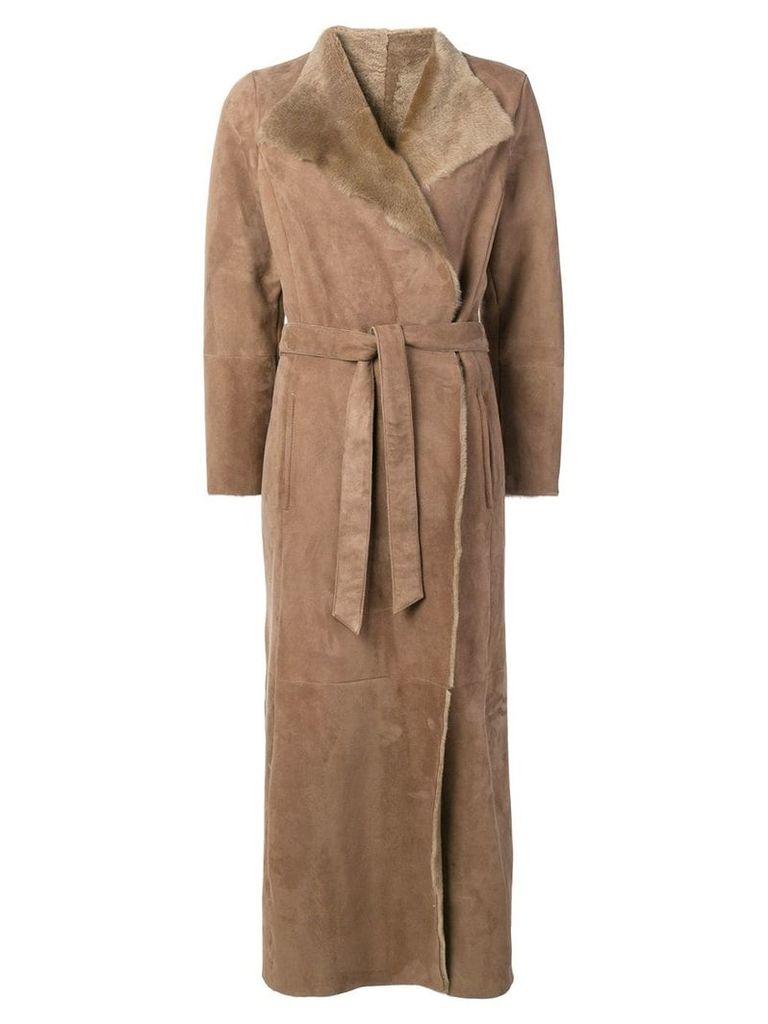 Eleventy long belted coat - Neutrals