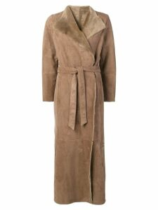 Eleventy long belted coat - Neutrals