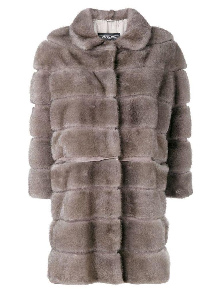 Simonetta Ravizza straight fit fur coat - Grey