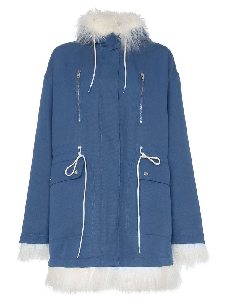 Calvin Klein 205W39nyc Shearling-lined cotton coat - Blue