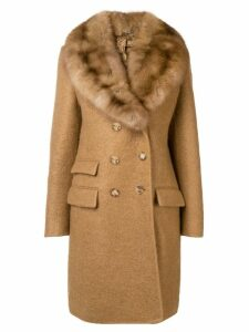 Ermanno Scervino double breasted fur coat - Neutrals