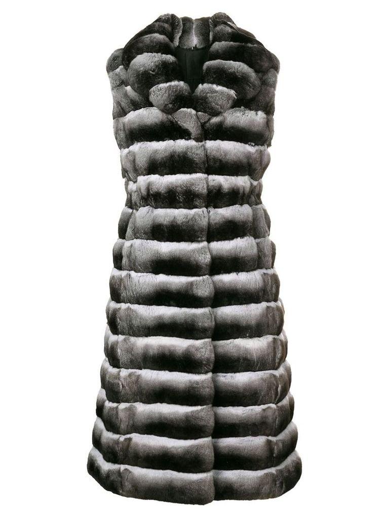 Liska sleeveless long fur coat - Black