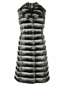 Liska sleeveless long fur coat - Black