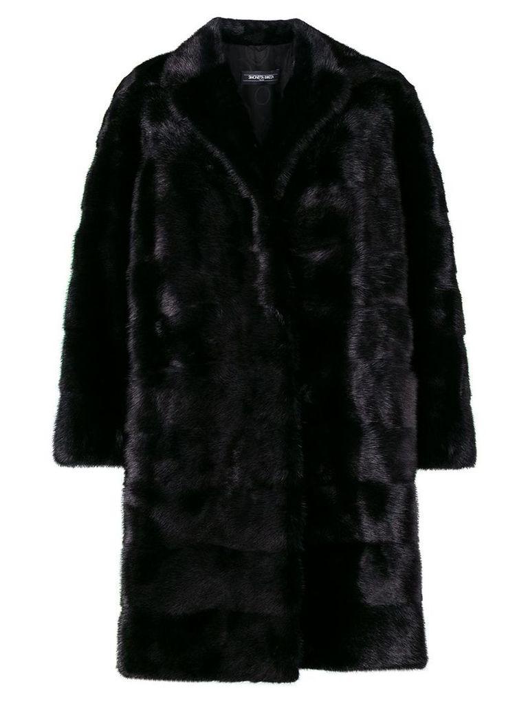 Simonetta Ravizza oversize panelled fur coat - Black