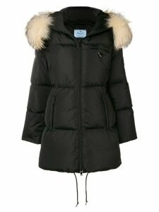 Prada padded fur parka - Black