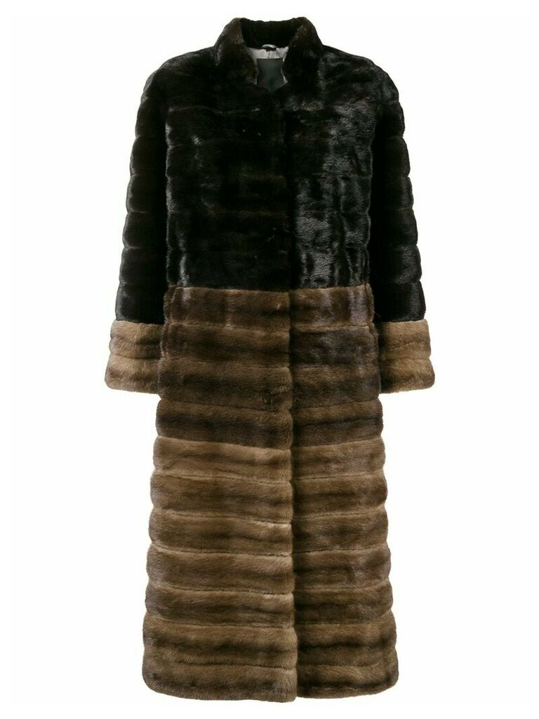 Liska high neck long coat - Brown