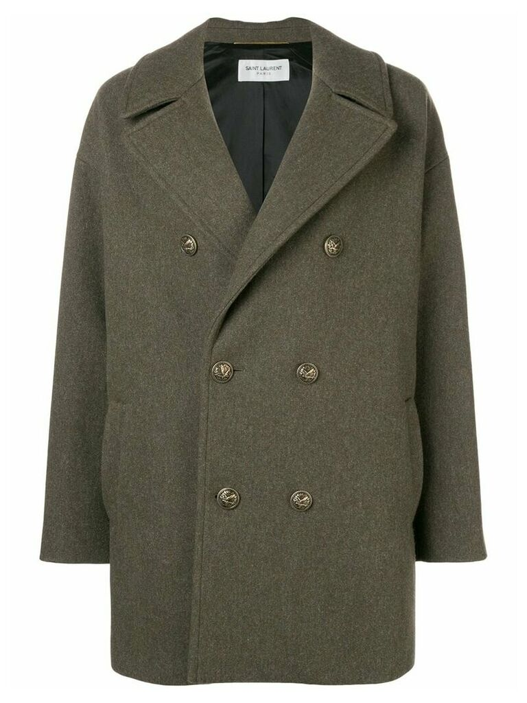 Saint Laurent double breasted military coat - Green