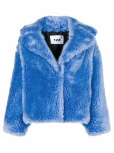 MSGM faux fur coat - Blue