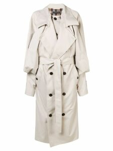 Y/Project draped front oversized trench coat - Neutrals